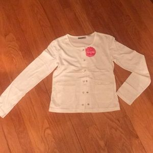 NWT girls white snap front sweater w/ lace pocket